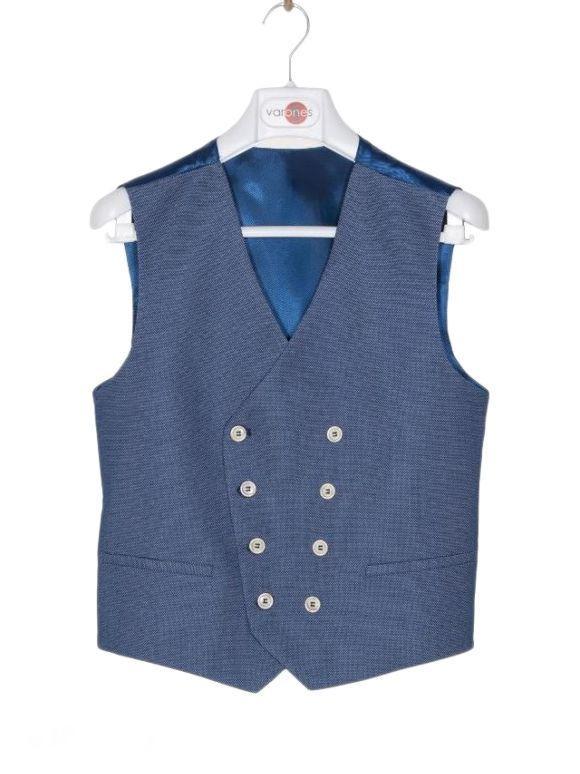 Varones Textured Blue Waistcoat