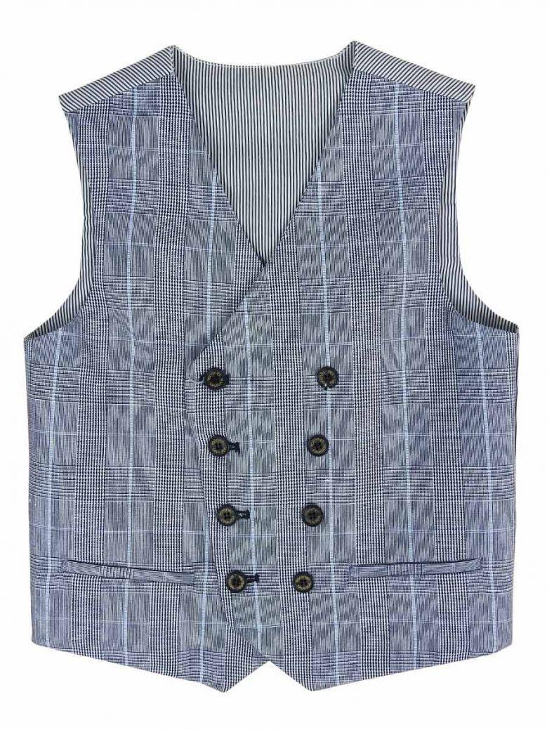 Varones Blue Check Waistcoat