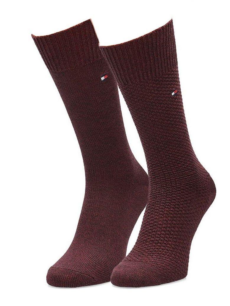 Tommy Hilfiger Bugundy 2 Pack Socks