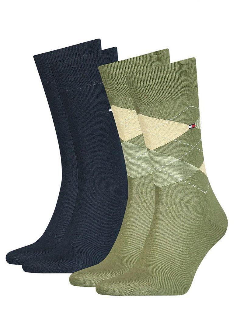 Tommy Hilfiger Green & Navy Diamond Print 2 Pack Socks
