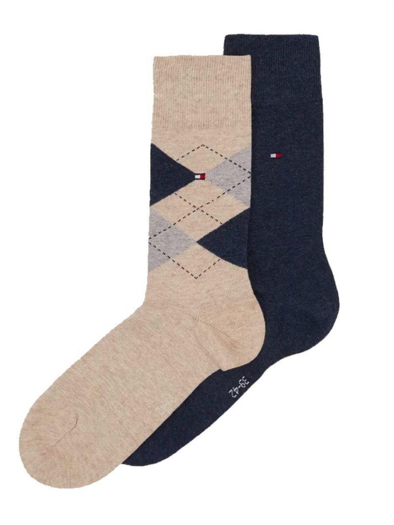 Tommy Hilfiger Beige & Navy Diamond Print 2 Pack Socks