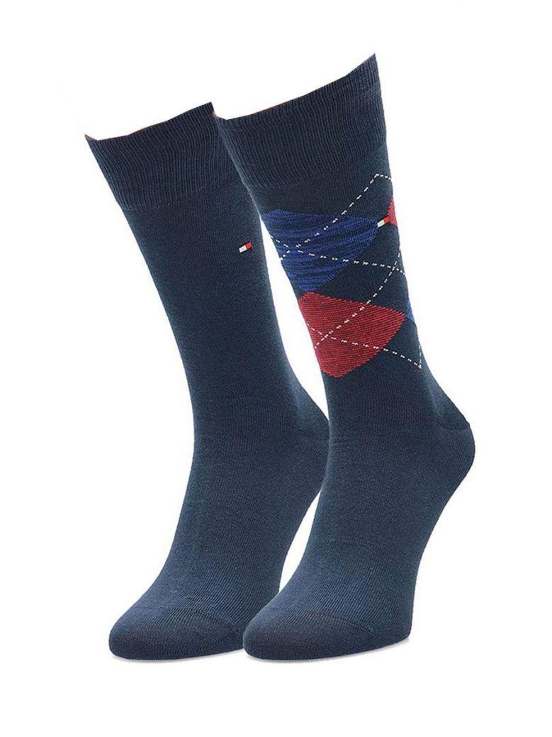 Tommy Hilfiger Blue, Red & Navy Diamond Print 2 Pack Socks