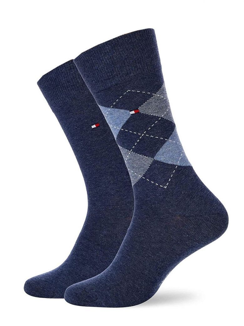 Tommy Hilfiger Blue & Navy Diamond Print 2 Pack Socks