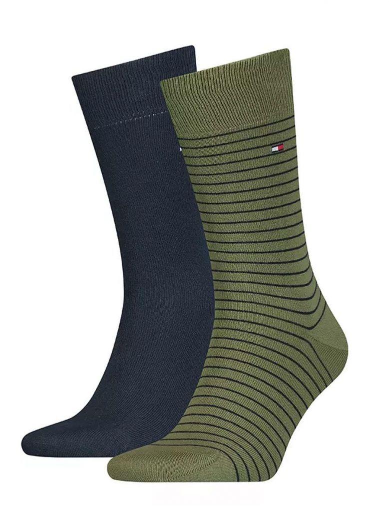 Tommy Hilfiger Green & Navy Fine Stripe 2 Pack Socks