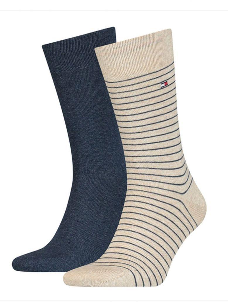 Tommy Hilfiger Beige & Navy Fine Stripe 2 Pack Socks