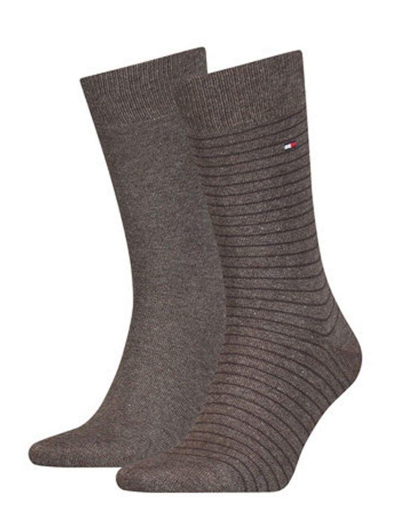 Tommy Hilfiger Brown Fine Stripe 2 Pack Socks