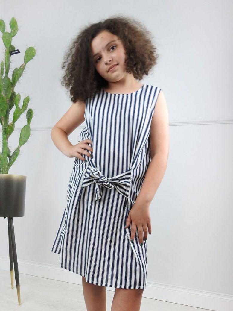 Tiffosi Blue & White Striped Bow Dress