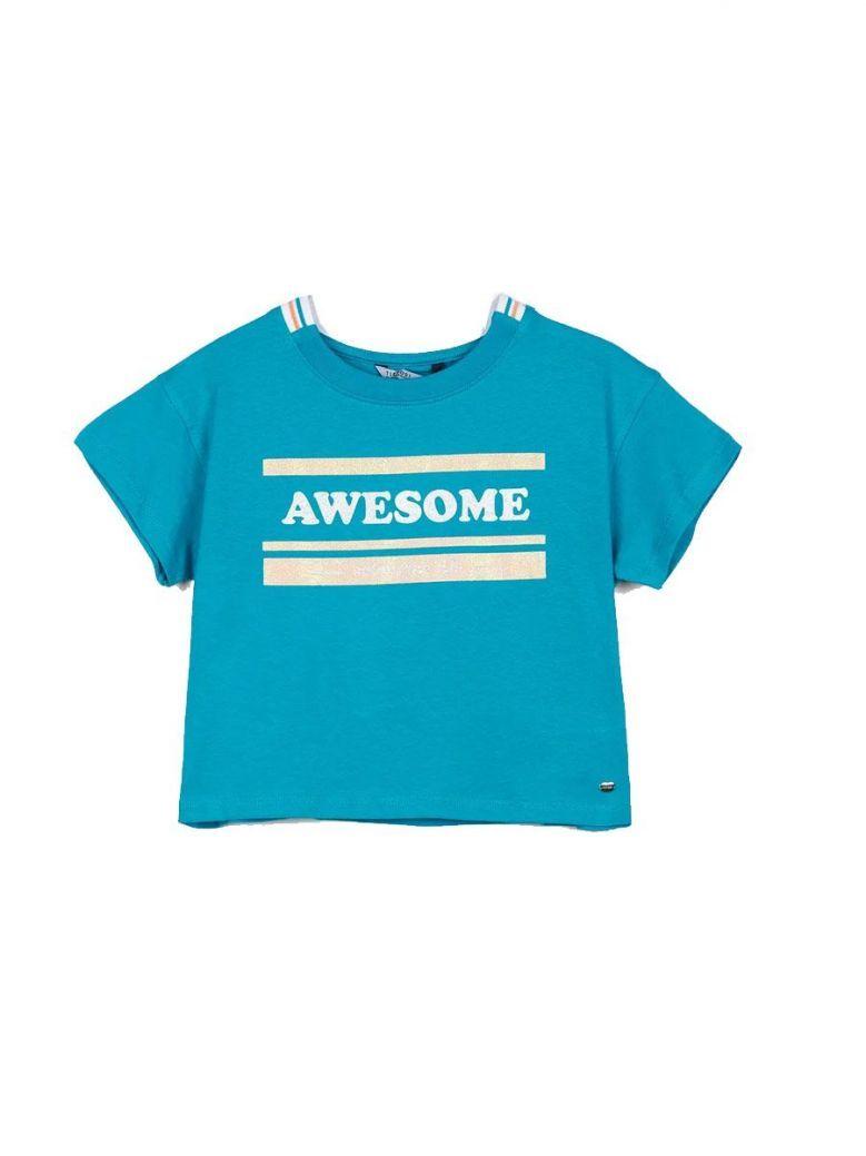 """Tiffosi Blue """"Awesome"""" Crop Top"""