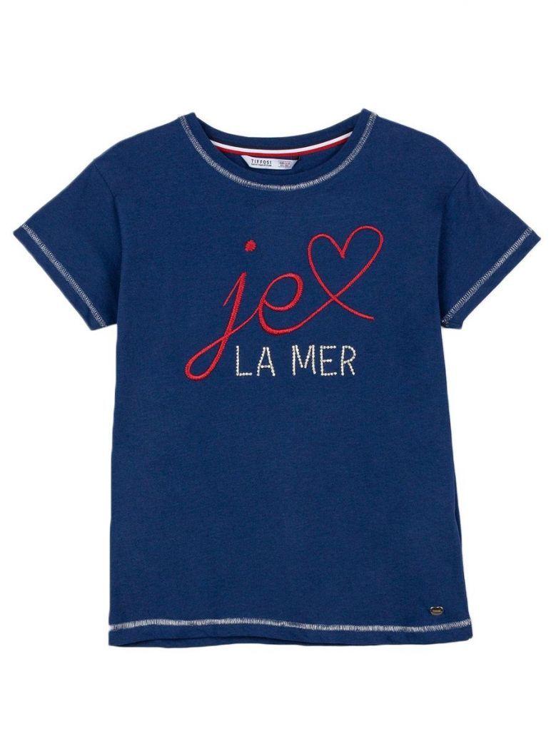 Tiffosi Navy Blue Embellished Text T-Shirt