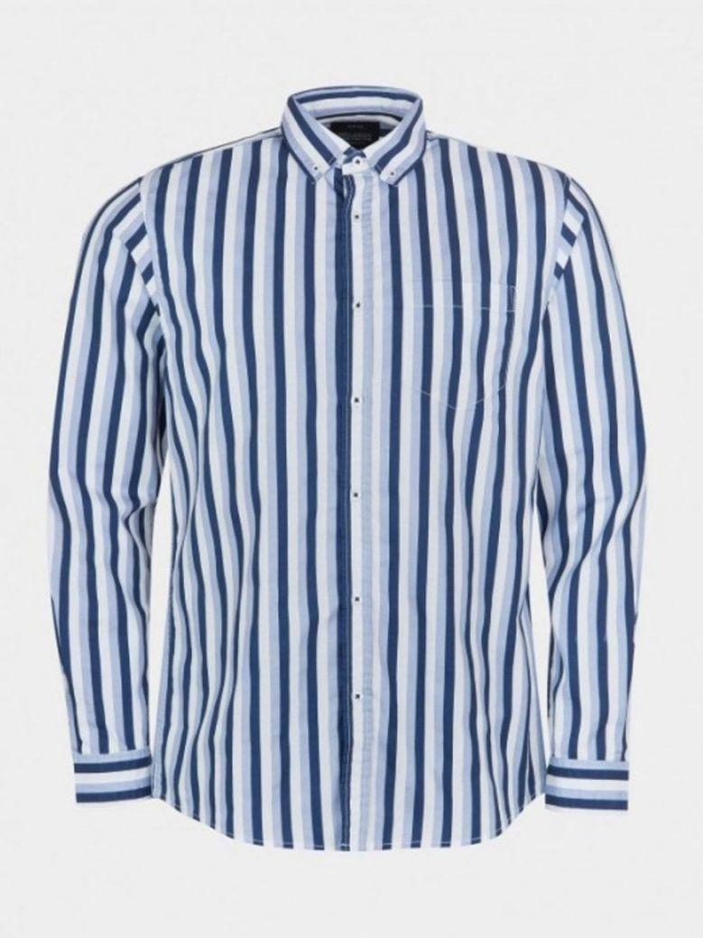Tiffosi Blue Stripe Long Sleeved Shirt