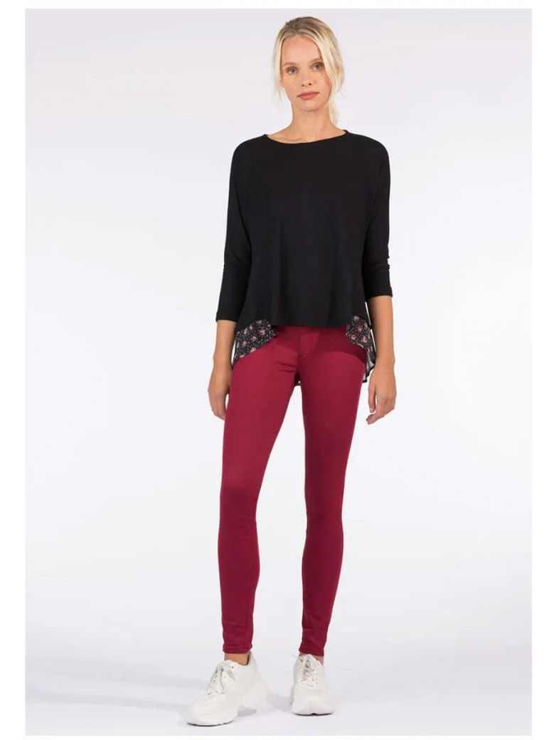Tiffosi Wine One Size Double-up Skinny High Waist Jeans