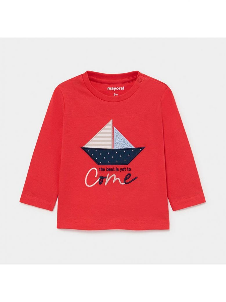 Mayoral Cyber Red Long Sleeved Boat T-Shirt