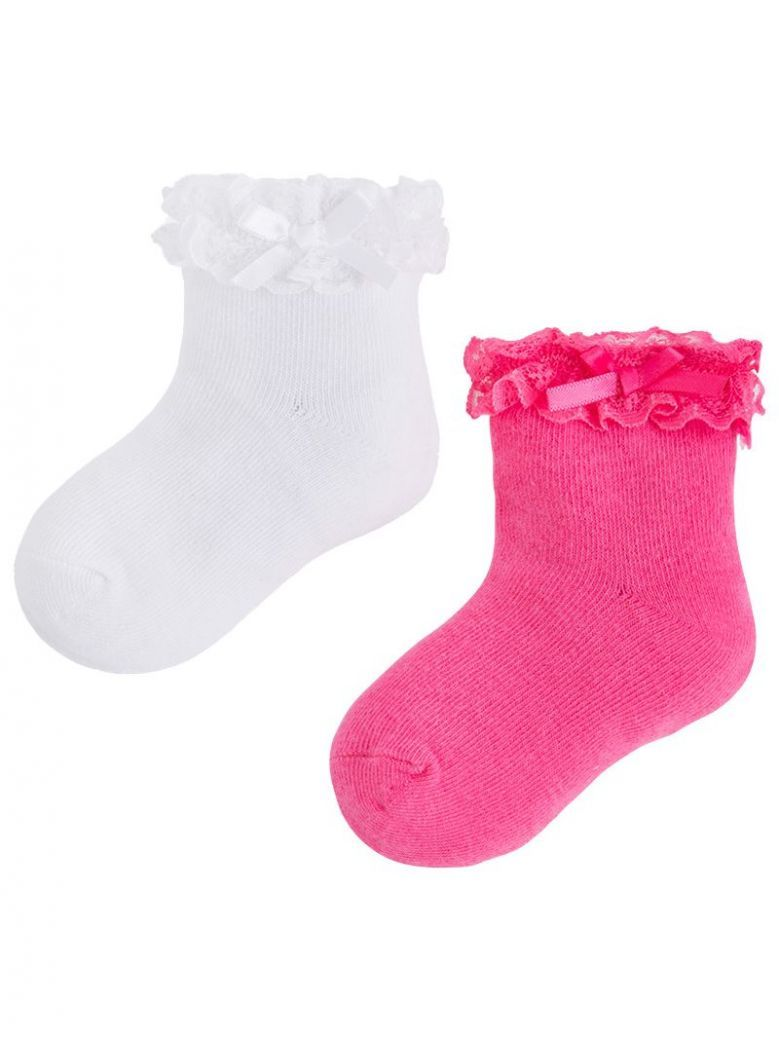 Mayoral Pink And White 2 Pack of Socks
