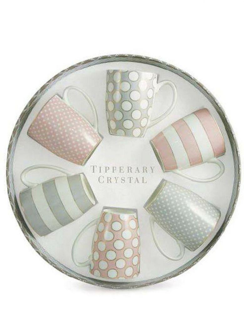 Tipperary Crystal Spots and Stripes Set 6 Bone China Mugs Pink Grey