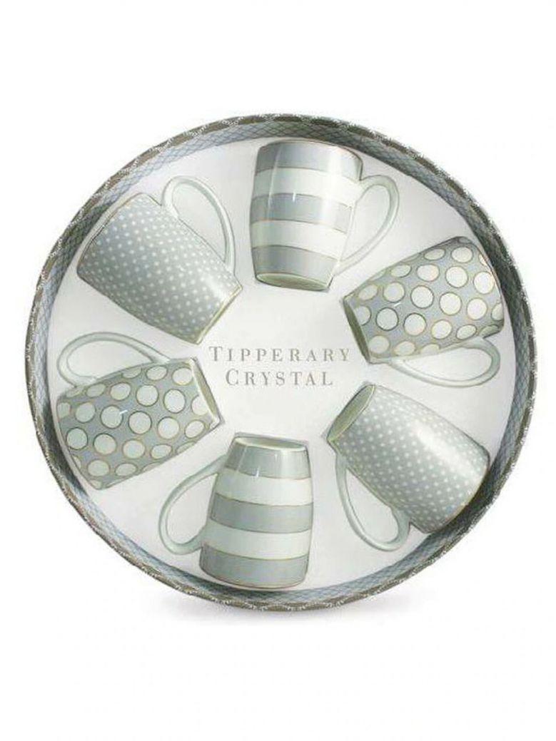 Tipperary Crystal Grey Set 6 Bone China Mugs - Spots & Stripes