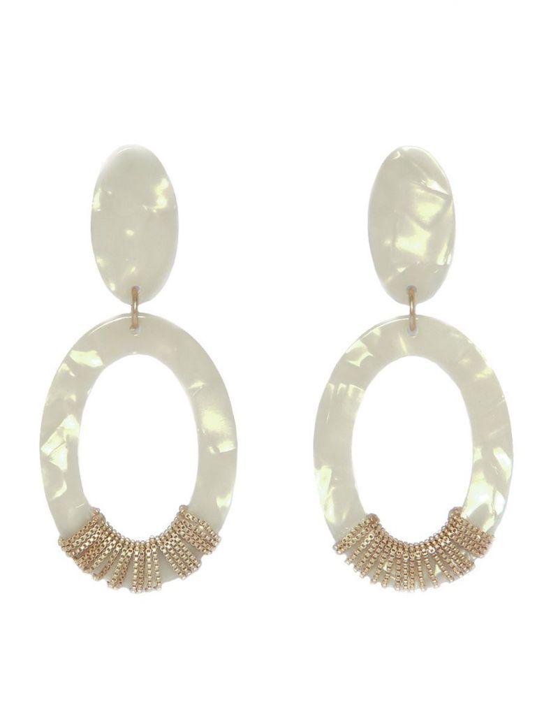 Envy White Oval Drop Earrings