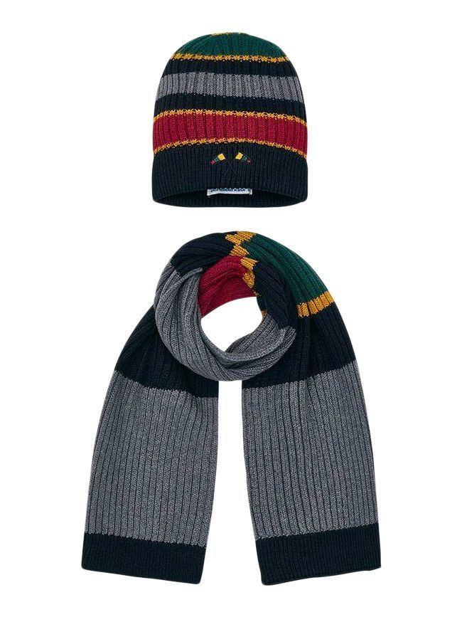 Mayoral Grey Multi Stripe Hat And Scarf Set