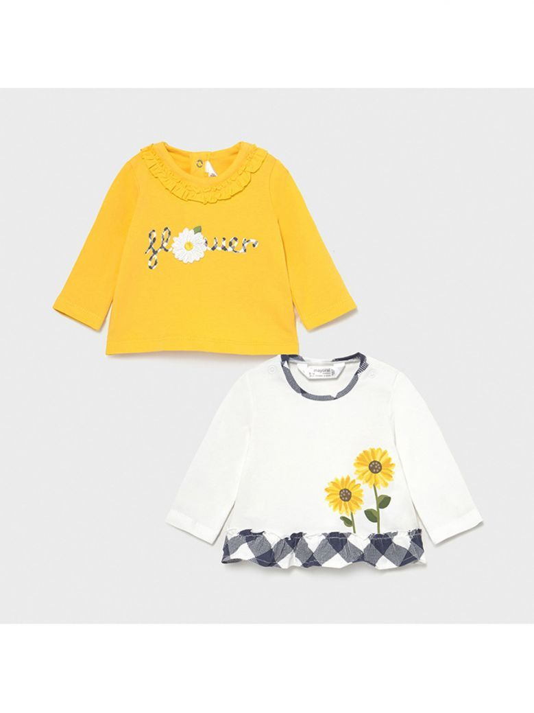 Mayoral Yellow Set of 2 Long Sleeved T-Shirts for Newborn Girl