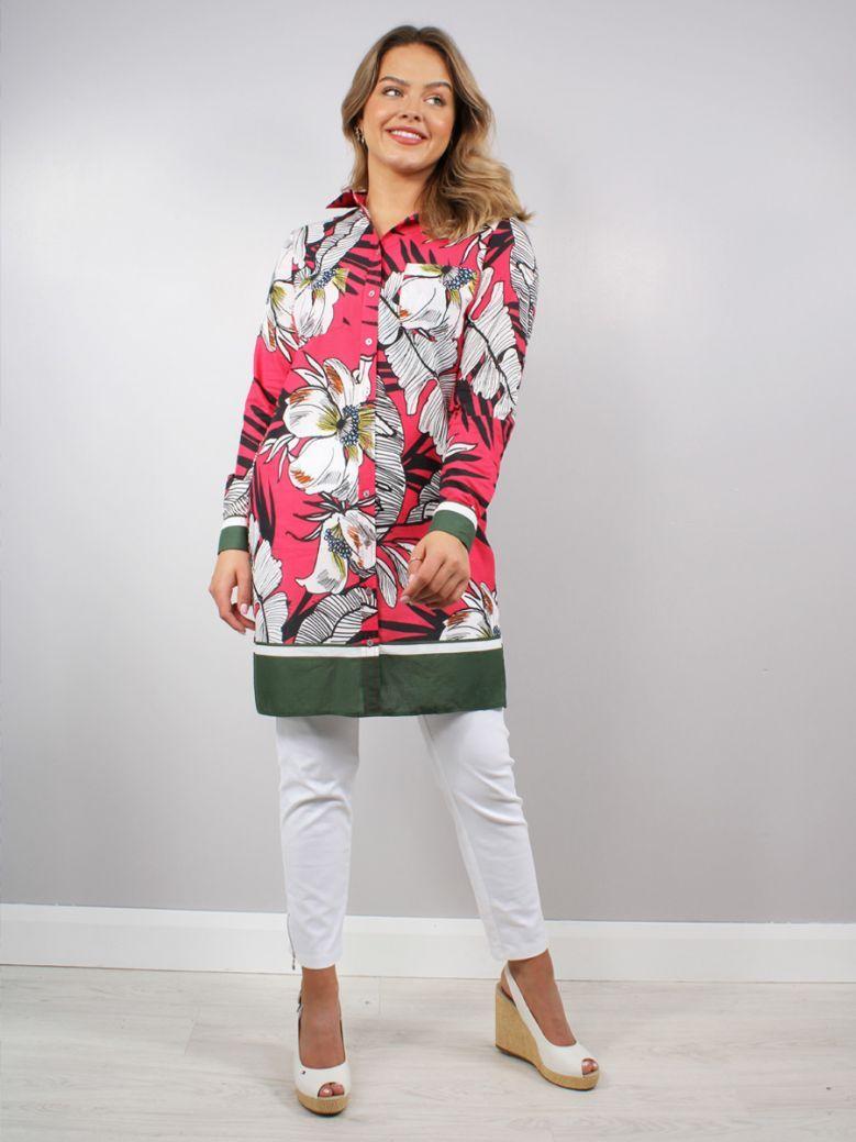 Milano Fuchsia Print Longline Shirt