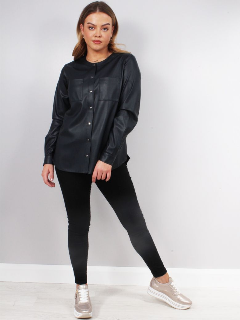 Milano Night Blue Faux Leather Blouse