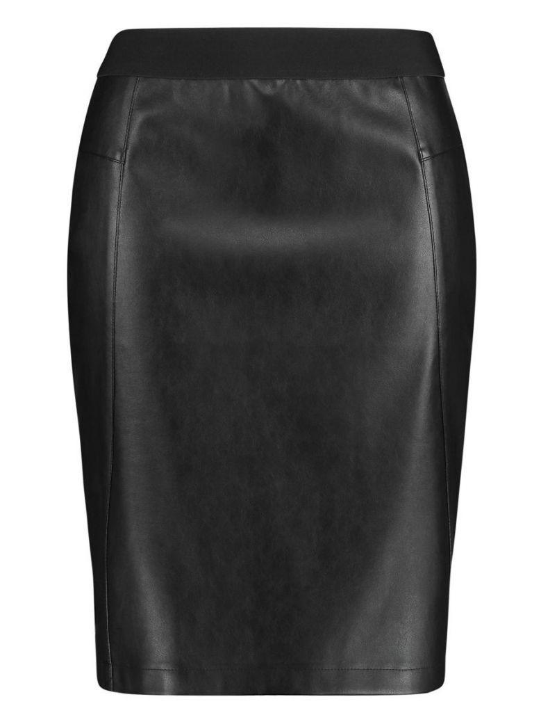 Samoon Black Faux-Leather Pencil Skirt