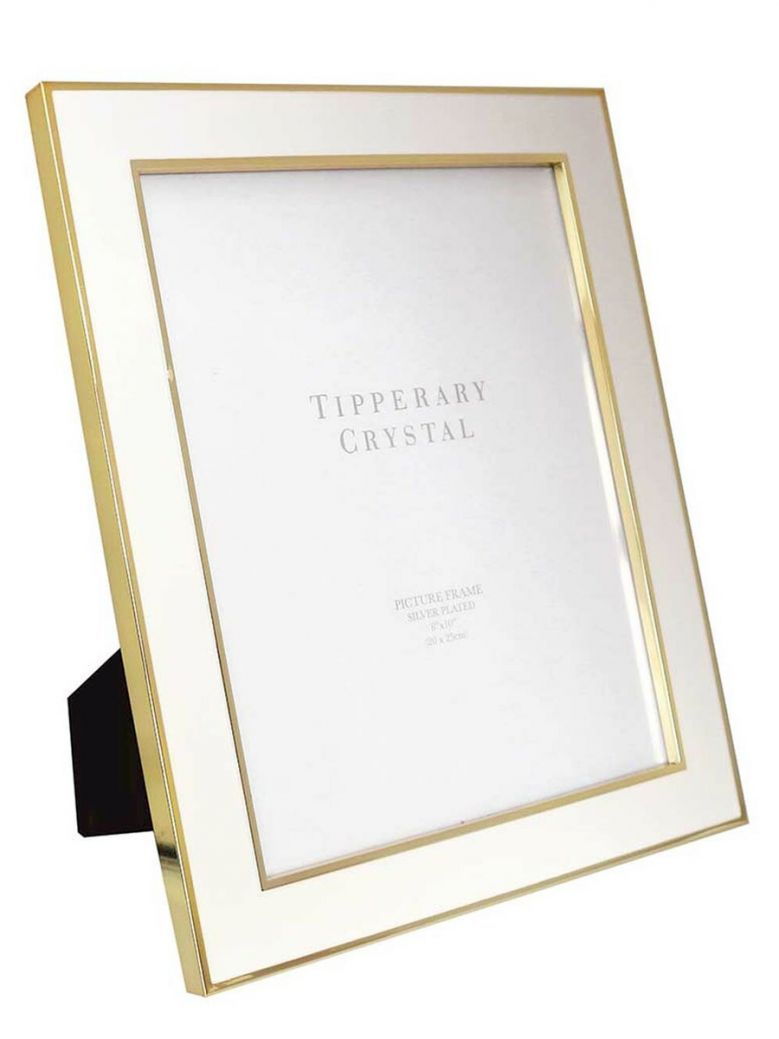 Tipperary Crystal White Enamel Frame with Gold Edging