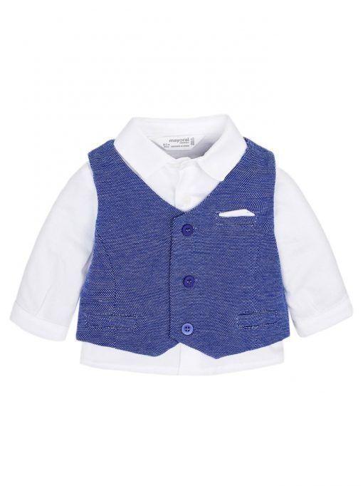 Mayoral White Shirt And Blue Waistcoat Set