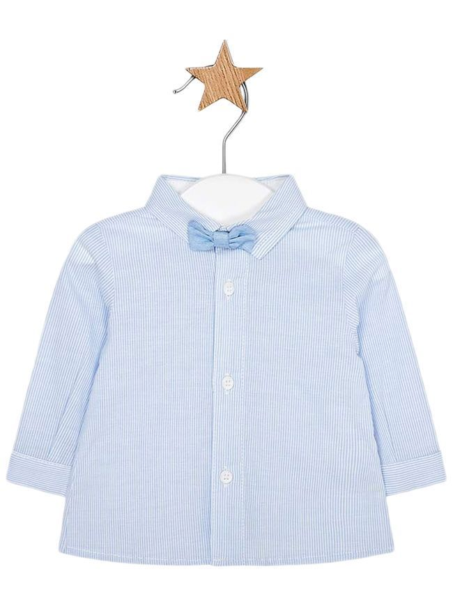 Mayoral Sky Long Sleeved Shirt With Bow-Tie