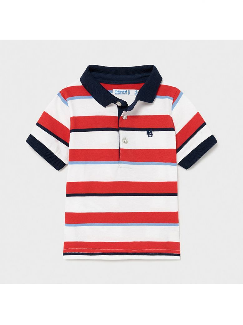 Mayoral Cyber Red Block Stripes Polo Shirt