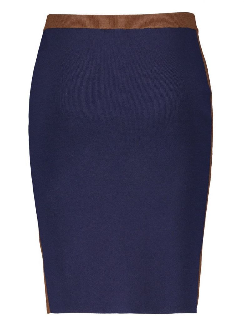 Samoon Navy & Brown Stretch-Knit Pencil Skirt