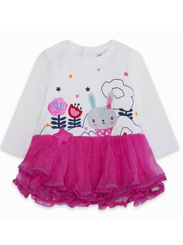 Tuc Tuc Cream Bunny Print & Pink Tulle Skirt Dress