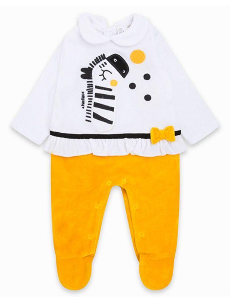 Tuc Tuc White & Yellow Velour Babygrow