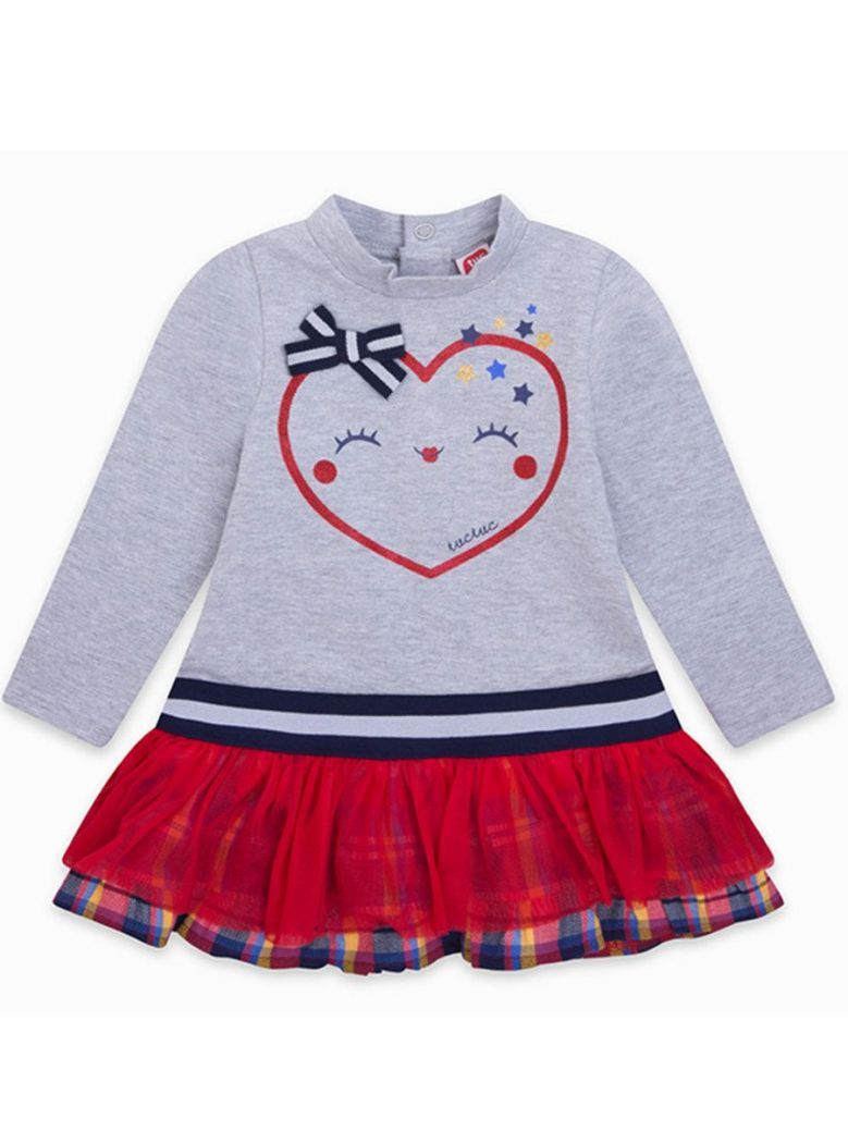 Tuc Tuc Grey Jersey Top & Red Tulle Skirt Dress