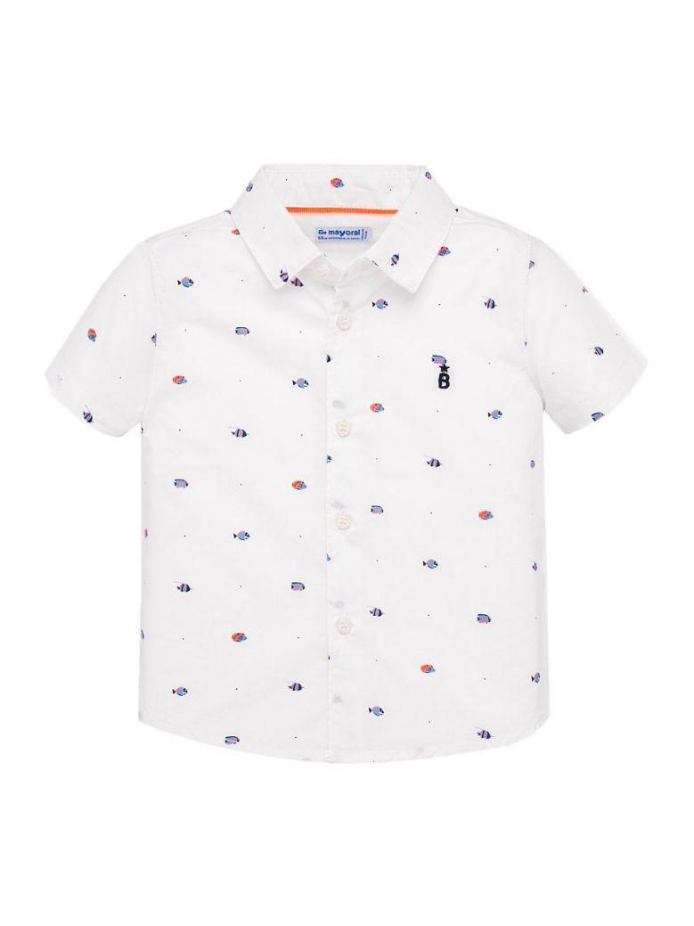 Mayoral White Printed Short Sleeve Shirt