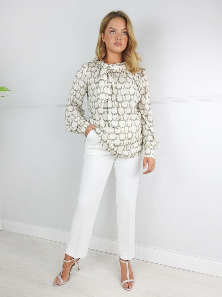 Camelot Cream Pleated Wide Leg Trousers