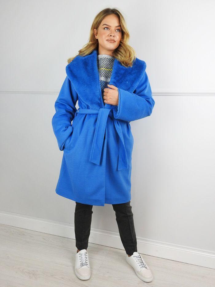 Camelot Blue Faux Fur Lapel Belted Coat