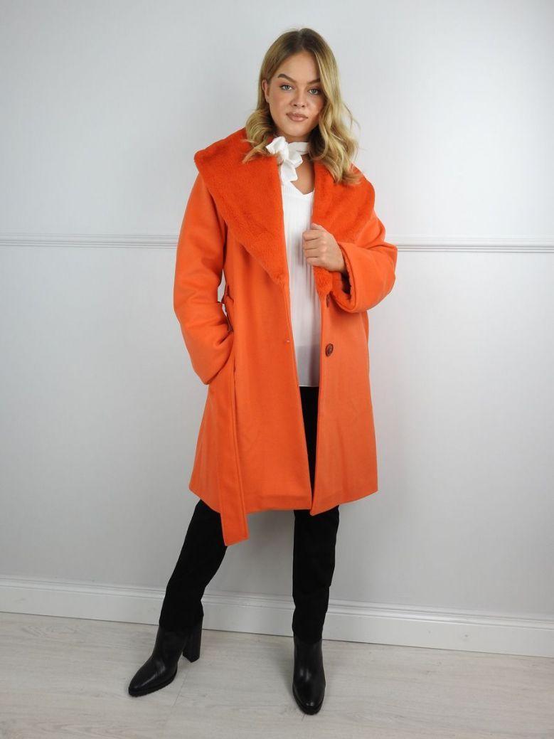 Camelot Orange Faux Fur Lapel Belted Coat