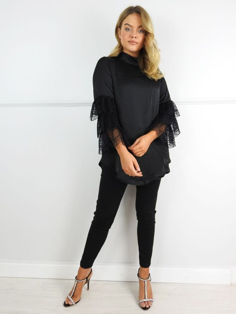 Camelot Black Lace Sleeve Top