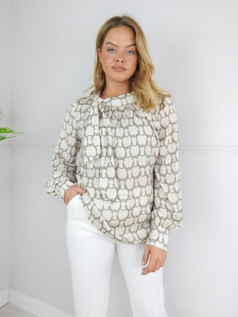 Camelot Beige Tie Neck Printed Blouse