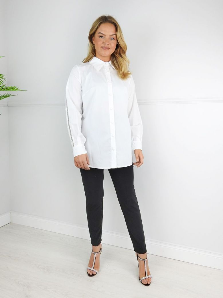 Camelot White Lace Detail Long Sleeve Blouse