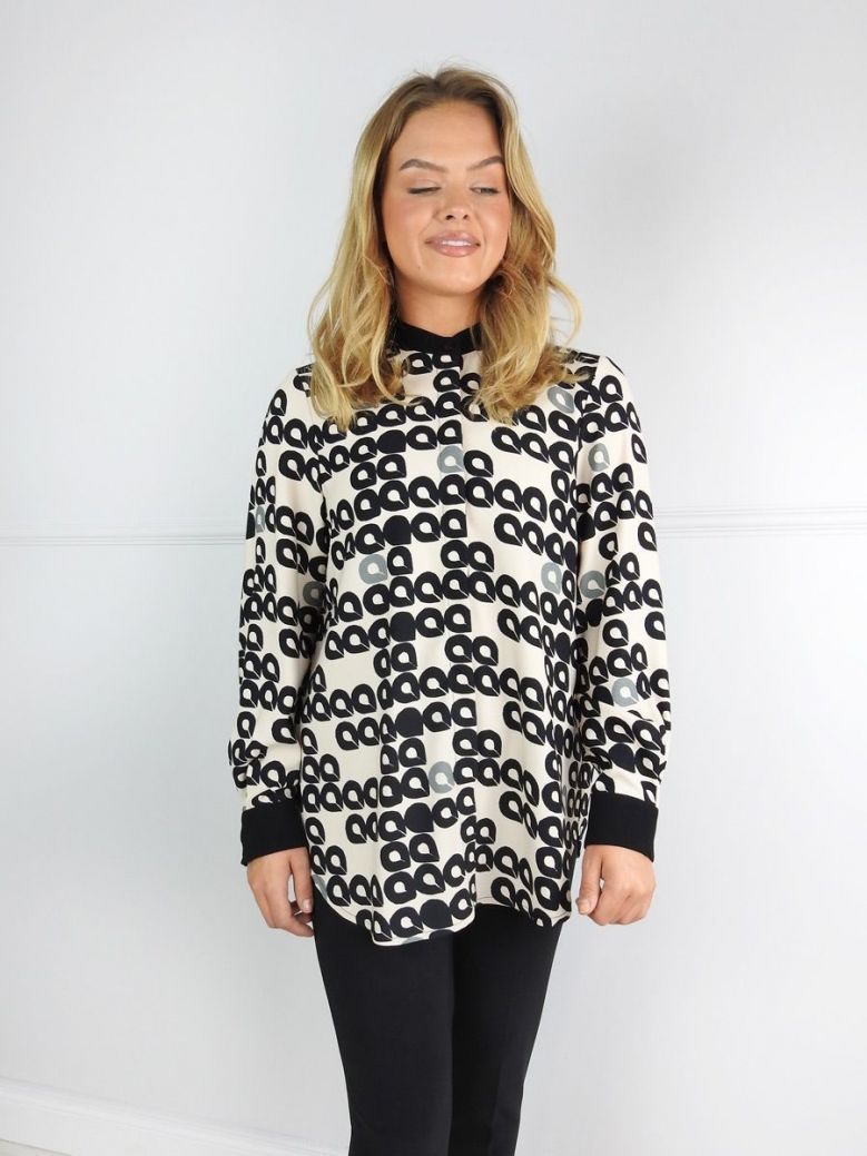 Camelot Beige Printed Round Neck Blouse