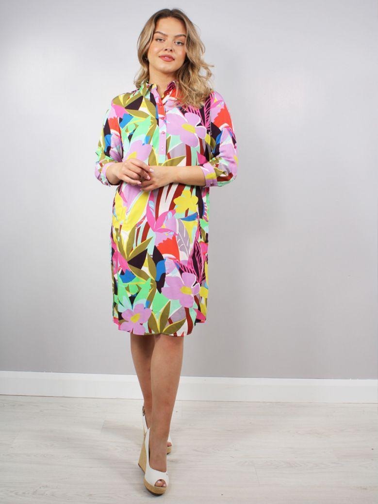 Milano Muti Rose Print Shirt Dress