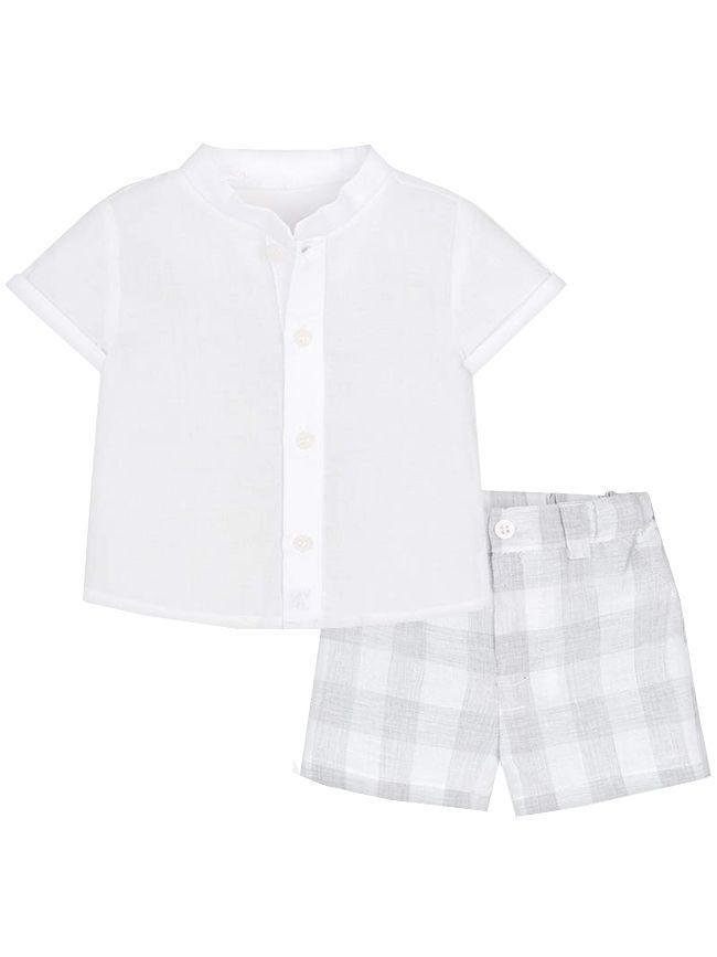 Mayoral White & Grey Outfit