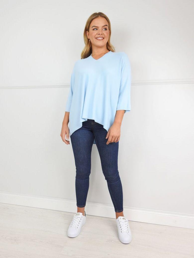 Erika W Pale Blue Fine Knit V-Neck Jumper