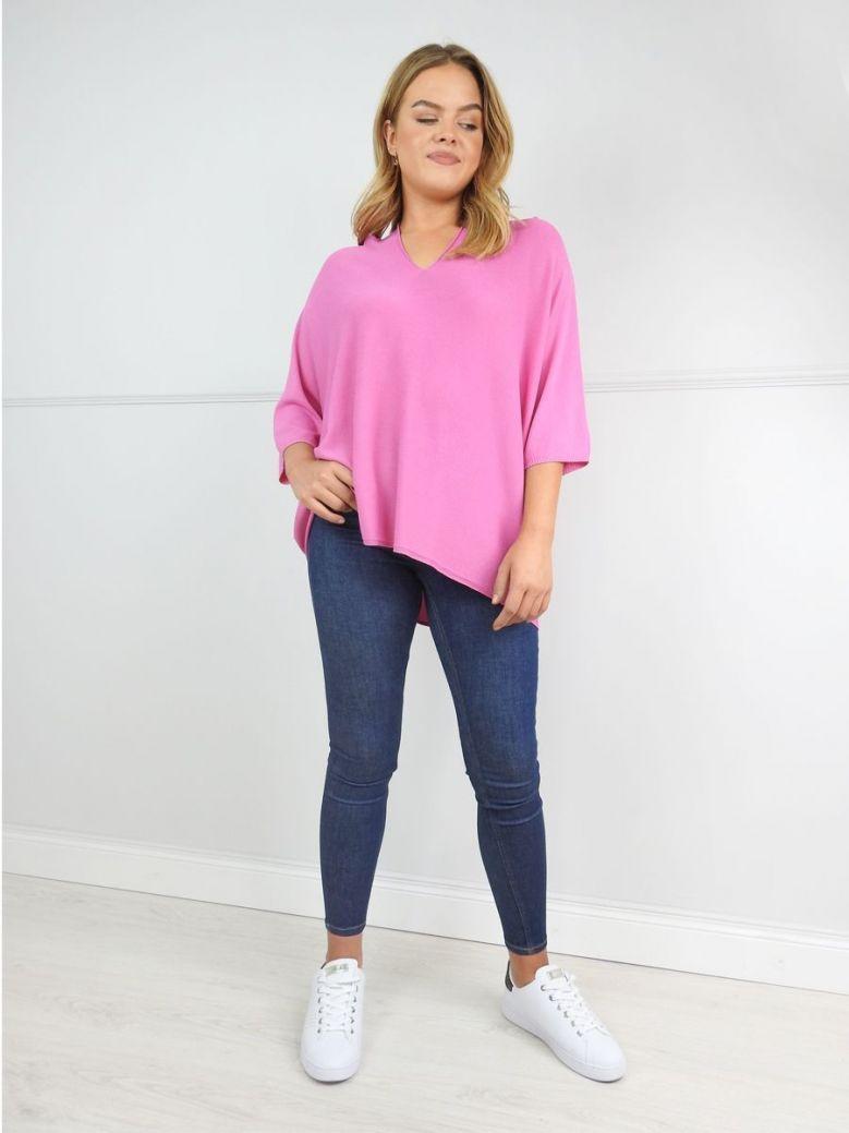 Erika W Magenta Pink Fine Knit V-Neck Jumper