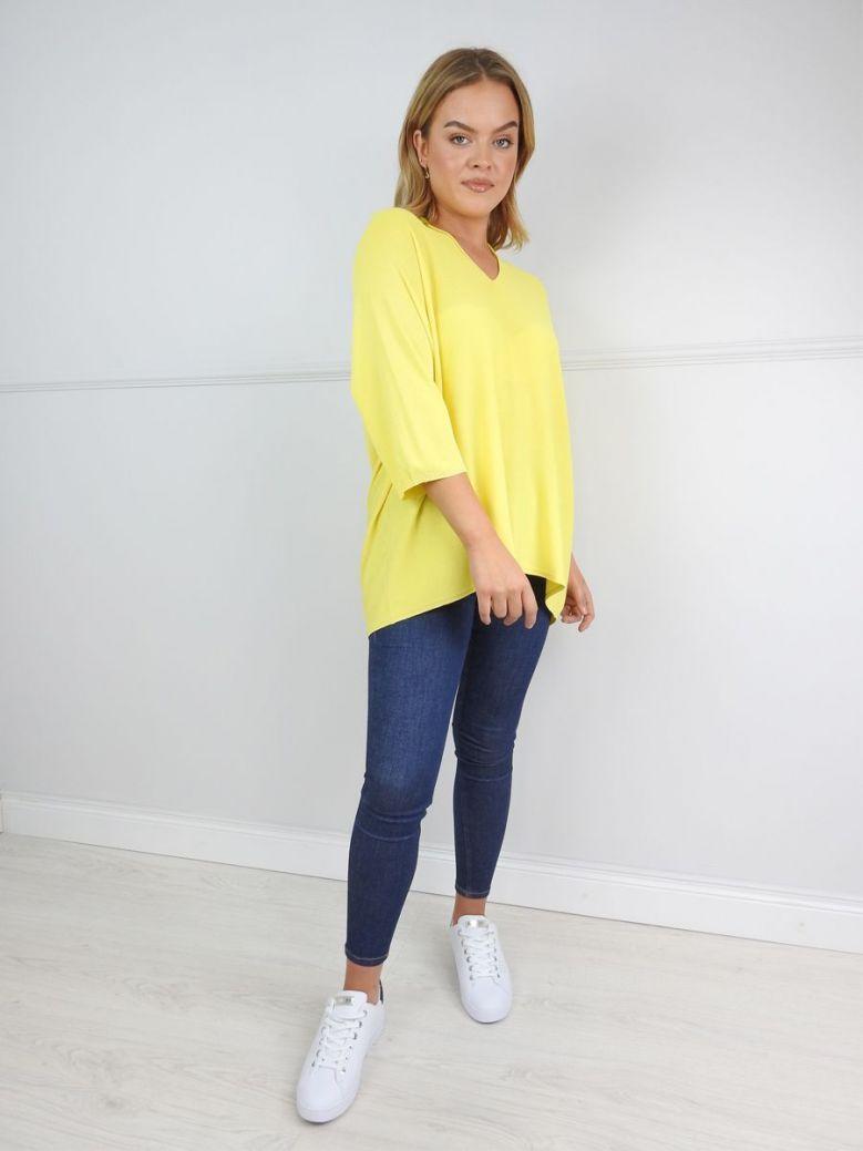 Erika W Yellow Fine Knit V-Neck Jumper