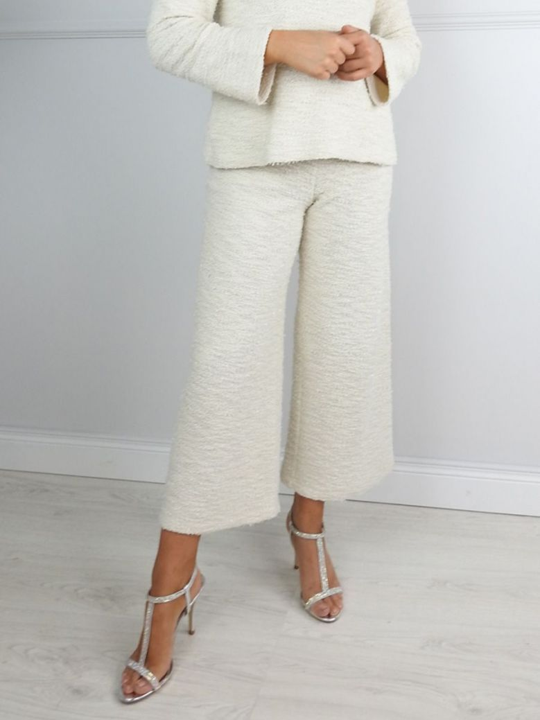 Camelot Cream Textured Cropped Trousers