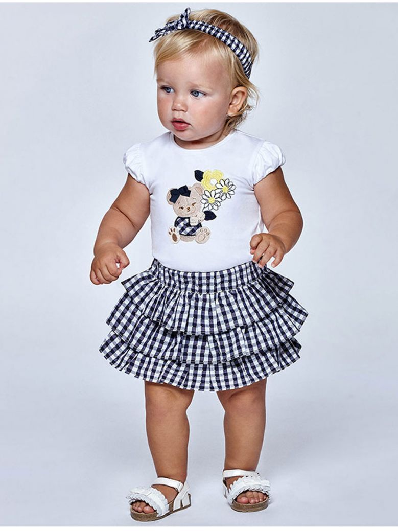 Mayoral Navy & White Embroidered T-Shirt & Shorts Outfit With matching Hairband