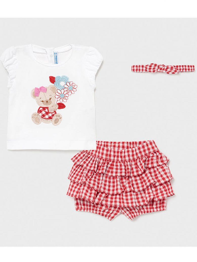 Mayoral Red & White Embroidered T-Shirt & Shorts Outfit With matching Hairband