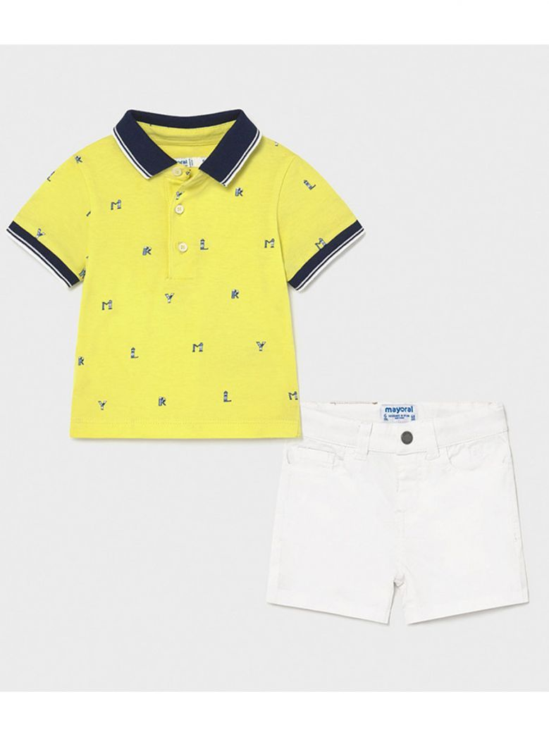 Mayoral White & Yellow Shorts & Polo Outfit